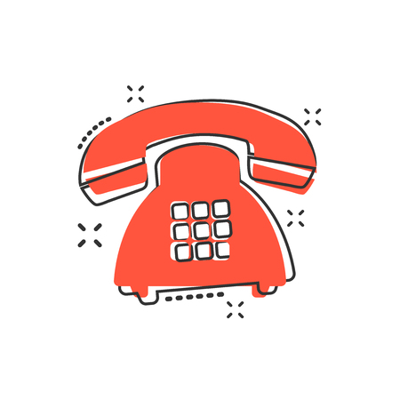 Vector cartoon phone icon in comic style. Telephone sign illustration pictogram. Phone business splash effect concept. Vettoriali