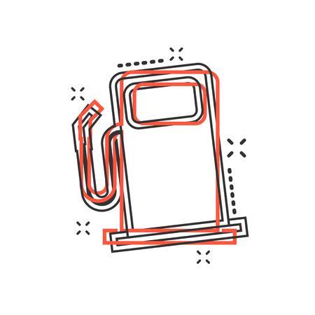 Vector cartoon fuel gas station icon in comic style. Car petrol pump sign illustration pictogram. Fuel business splash effect concept. Stock Illustratie