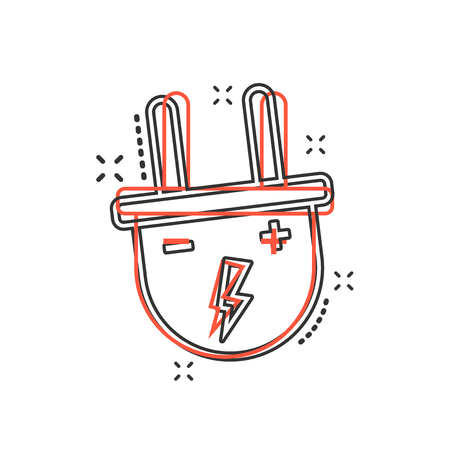 Vector cartoon electric plug icon in comic style. Power wire cable sign illustration pictogram. Wire business splash effect concept.