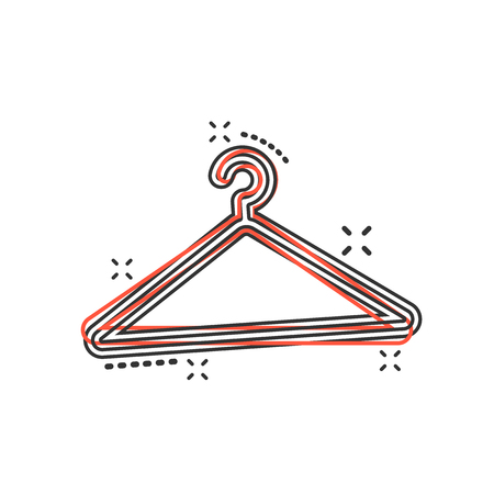 Vector cartoon hanger icon in comic style. Wardrobe hander sign illustration pictogram. Hanger business splash effect concept.