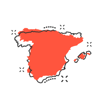 Vector cartoon Spain map icon in comic style. Spain sign illustration pictogram. Cartography map business splash effect concept.