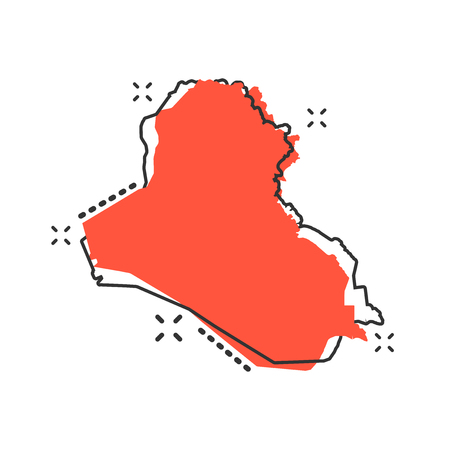 Vector cartoon Iraq map icon in comic style. Iraq sign illustration pictogram. Cartography map business splash effect concept. Vetores
