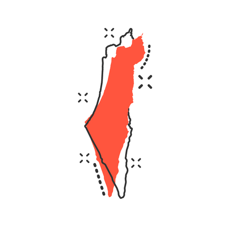 Vector cartoon Israel map icon in comic style. Israel sign illustration pictogram. Cartography map business splash effect concept. 向量圖像
