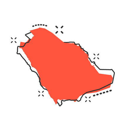 Vektor-Karikatur-Saudi-Arabien-Kartenikone im Comic-Stil. Saudi-Arabien Zeichen Illustration Piktogramm. Geschäftsspritzeffektkonzept der Kartographiekarte. Vektorgrafik