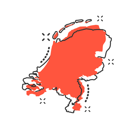 Vector cartoon Netherlands map icon in comic style. Netherlands sign illustration pictogram. Cartography map business splash effect concept.