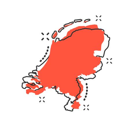 Vector cartoon Paesi Bassi icona mappa in stile fumetto. Paesi Bassi segno illustrazione pittogramma. Cartografia mappa business effetto splash concept.