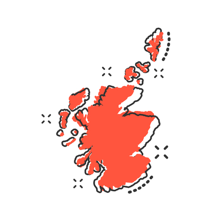 Vector cartoon Scotland map icon in comic style. Scotland sign illustration pictogram. Cartography map business splash effect concept.