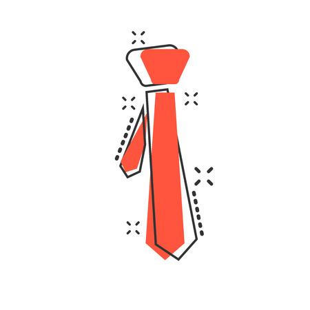 Vector cartoon tie icon in comic style. Necktie sign illustration pictogram. Tie business splash effect concept.
