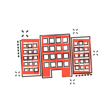 Vector cartoon building in comic style. House sign illustration pictogram. Building business splash effect concept.