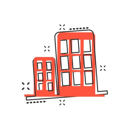 Vector cartoon building in comic style. House sign illustration pictogram. Building business splash effect concept. Standard-Bild - 107082972