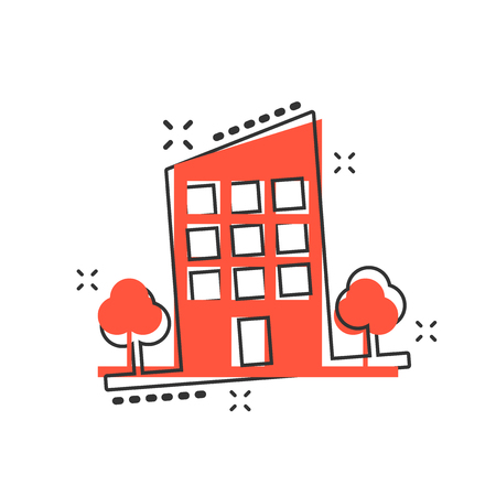 Vector cartoon building with trees in comic style. House sign illustration pictogram. Building business splash effect concept. Standard-Bild - 107082973