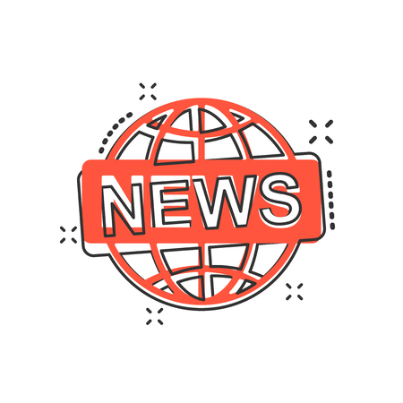 Vector cartoon globe news icon in comic style. World news sign illustration pictogram. Newsletter business splash effect concept. Illustration
