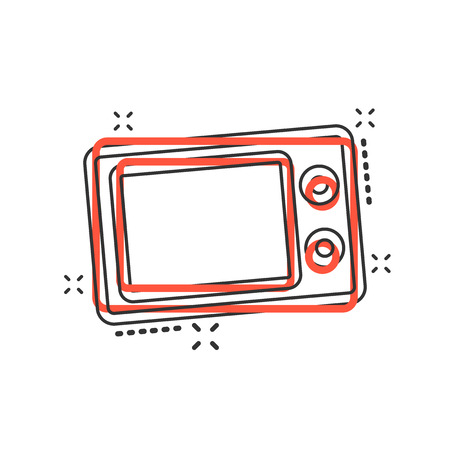 Vector cartoon microwave icon in comic style. Microwave oven sign illustration pictogram. Stove business splash effect concept.