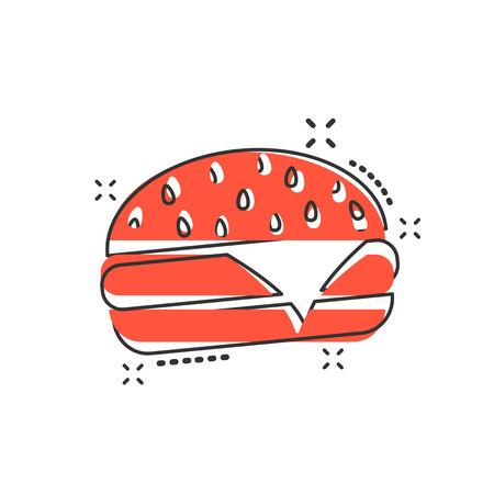 Vector de dibujos animados icono de comida rápida hamburguesa en estilo cómic. Pictograma de ilustración de signo de hamburguesa. Concepto de efecto de splash de negocio de hamburguesa.