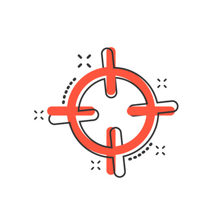 Vector cartoon target aim icon in comic style. Darts game sign illustration pictogram. Success business splash effect concept. 矢量图像