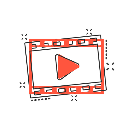 Vector cartoon play button icon in comic style. Play video sign illustration pictogram. Media panel business splash effect concept. Illustration
