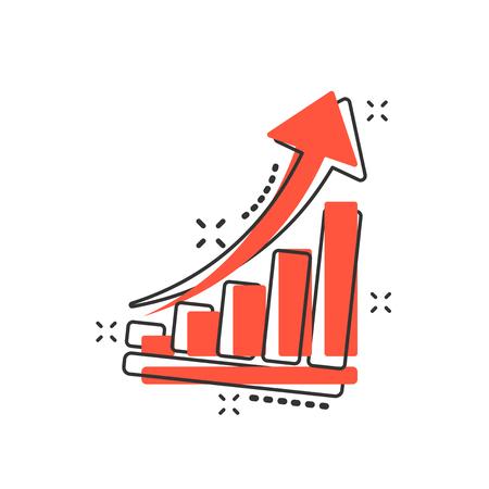 Icona del grafico di crescita del fumetto vettoriale in stile fumetto. Cresci il pittogramma dell'illustrazione del segno del diagramma. Aumentare il concetto di effetto splash aziendale freccia.