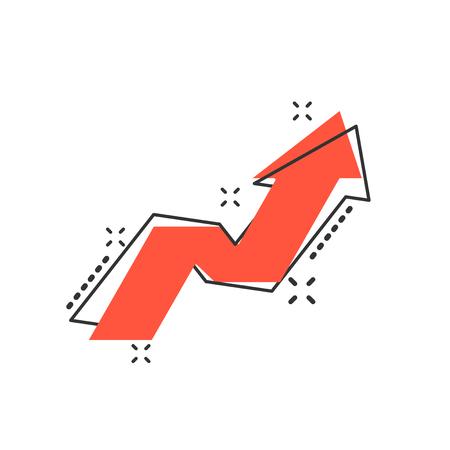 Vector cartoon arrow growing graph icon in comic style. Progress arrow grow sign illustration pictogram. Cursor business splash effect concept.