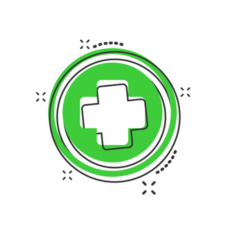Vector cartoon medical health icon in comic style. Medicine hospital plus sign illustration pictogram. Medical business splash effect concept.