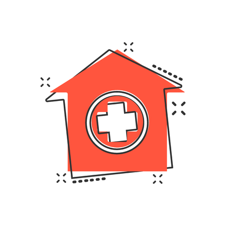 Vector cartoon hospital building icon in comic style. Infirmary medical clinic sign illustration pictogram. Health business splash effect concept.