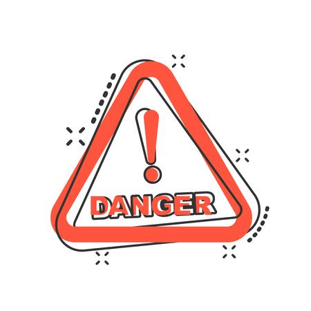 Vector cartoon danger icon in comic style. Attention caution sign illustration pictogram. Danger business splash effect concept.