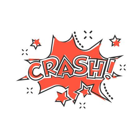 Vector cartoon crash comic sound effects icon in comic style. Sound bubble speech sign illustration pictogram. Crash business splash effect concept.