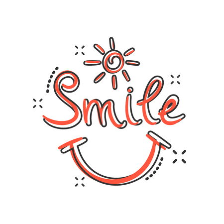 Vector cartoon smile text icon in comic style. Hand drawn smile sign illustration pictogram. Business splash effect concept.