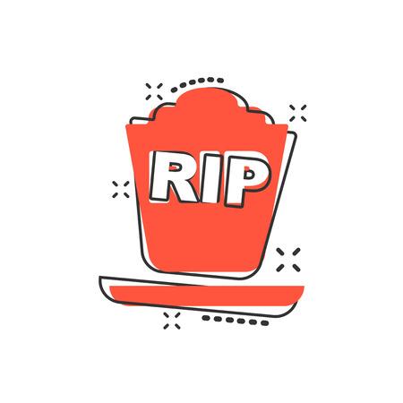 Icona della tomba di halloween del fumetto di vettore in stile fumetto. Segno di pietra tombale illustrazione pittogramma. Rip business effetto splash concept.