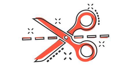 Vektor-Cartoon-Schere-Symbol im Comic-Stil. Schere Zeichen Abbildung Piktogramm. Scheren Sie Business Splash-Effekt-Konzept.