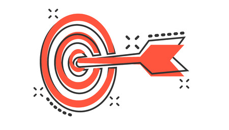 Icono de objetivo de destino de dibujos animados de vector en estilo cómic. Pictograma de ilustración de signo de juego de dardos. Concepto de efecto de salpicadura de negocio de éxito.