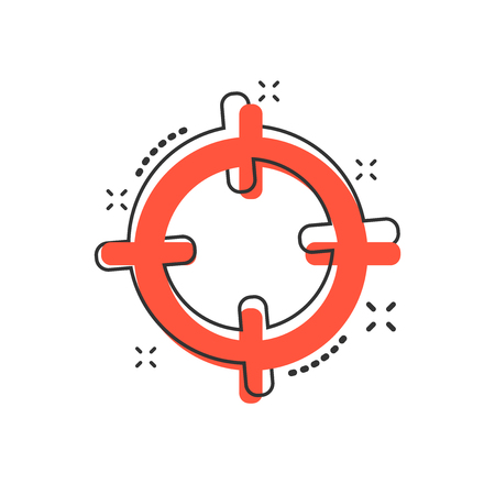 Vector cartoon target aim icon in comic style. Darts game sign illustration pictogram. Success business splash effect concept.