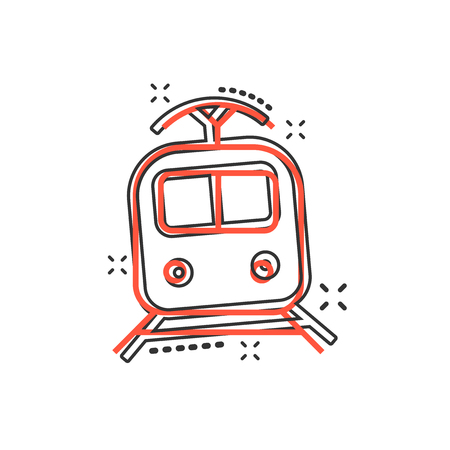Vector cartoon train transportation icon in comic style. Train sign illustration pictogram. Transportation business splash effect concept. Ilustracje wektorowe