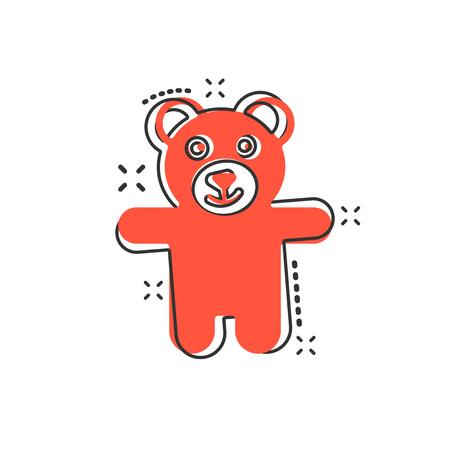 Vektor-Cartoon-Teddybär-Plüschtier-Symbol im Comic-Stil. Teddy-Spielzeug-Zeichen-Abbildung-Piktogramm. Tragen Sie Geschäftskonzept Splash-Effekt.