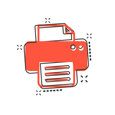 Vector cartoon printer icon in comic style. Document printing sign illustration pictogram. Printer business splash effect concept.  イラスト・ベクター素材