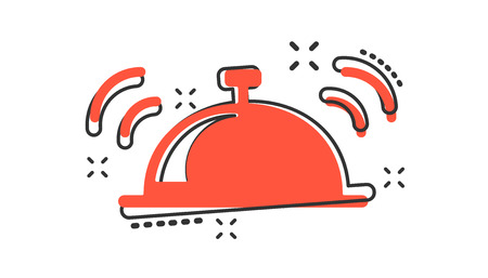 Icône de cloche de dessin animé de vecteur dans un style comique. Pictogramme d'illustration de concept de cloche d'alarme. Concept d'effet splash entreprise de sonnette.