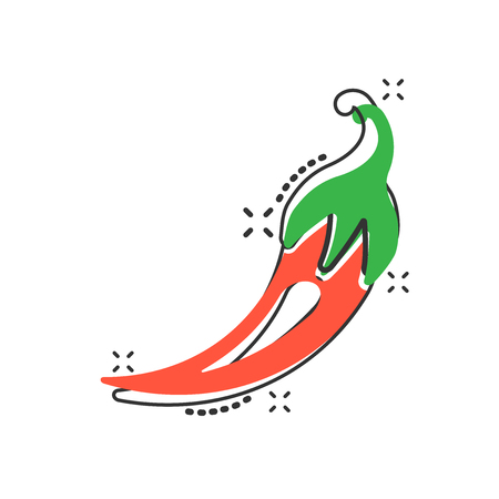 Vector cartoon chili pepper icon in comic style. Spicy peppers concept illustration pictogram. Chili paprika business splash effect concept. 일러스트