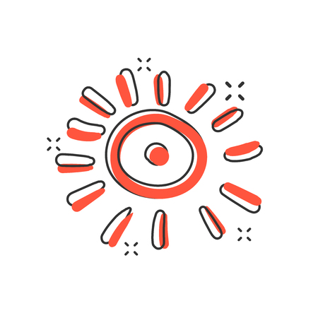 Vector cartoon hand drawn sun icon in comic style. Sun sketch doodle illustration pictogram. Handdrawn sunshine business splash effect concept.