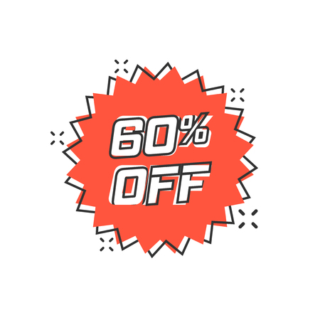 Vector cartoon discount sticker icon in comic style. Sale tag illustration pictogram. Promotion 60 percent discount splash effect concept.