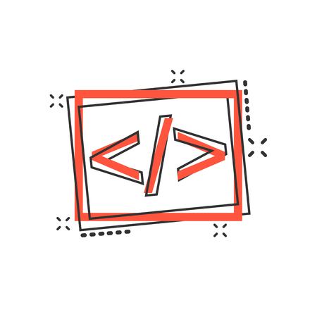 Vector cartoon open source icon in comic style. Api programming concept illustration pictogram. Programmer technology business splash effect concept. 向量圖像