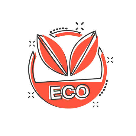 Vector cartoon eco label badge icon in comic style. Organic product stamp concept illustration pictogram. Eco natural food business splash effect concept. Ilustração