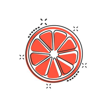 Vector cartoon orange fruit icon in comic style. Orange citrus concept illustration pictogram. Tropical food business splash effect concept. Illustration
