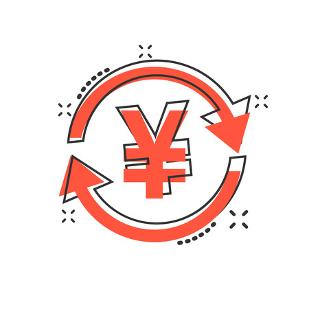 Vector cartoon yen, yuan money currency icon in comic style. Yen coin concept illustration pictogram. Asia money business splash effect concept.
