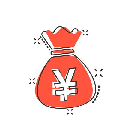 Vector cartoon yen, yuan bag money currency icon in comic style. Yen coin sack concept illustration pictogram. Asia money business splash effect concept. 向量圖像
