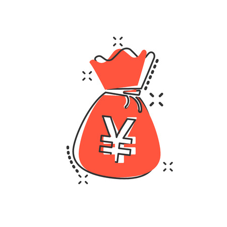 Vector cartoon yen, yuan bag money currency icon in comic style. Yen coin sack concept illustration pictogram. Asia money business splash effect concept.