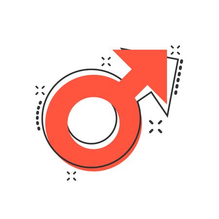 Vector cartoon male sex symbol icon in comic style. Men gender concept illustration pictogram. Boy masculine business splash effect concept.