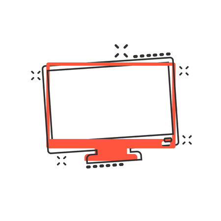Vector cartoon computer monitor icon in comic style. Television concept illustration pictogram. Tv display business splash effect concept.