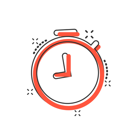 Vector cartoon clock timer icon in comic style. Time alarm concept illustration pictogram. Stopwatch clock business splash effect concept. 向量圖像