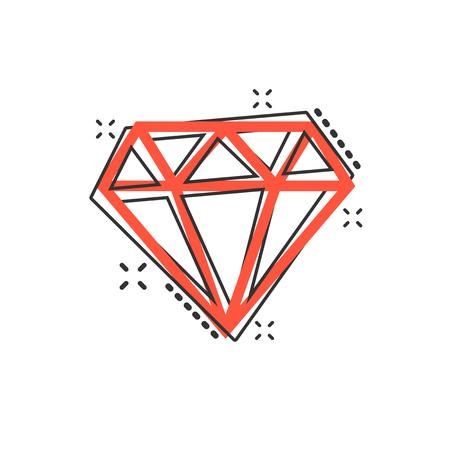 Vector cartoon diamond jewel gem icon in comic style. Diamond gemstone illustration pictogram. Jewelry brilliant business splash effect concept.