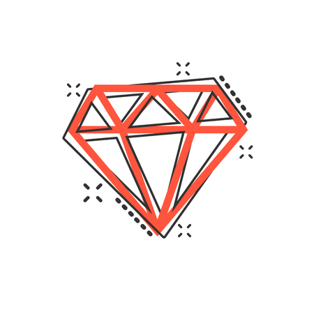 Vector cartoon diamond jewel gem icon in comic style. Diamond gemstone illustration pictogram. Jewelry brilliant business splash effect concept.