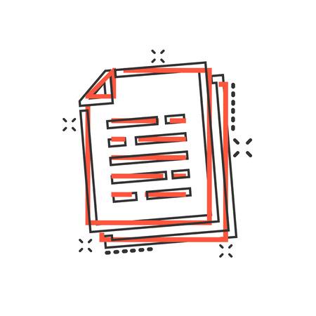 Vector cartoon document paper icon in comic style. Terms sheet concept illustration pictogram. Document analytics business splash effect concept. Vektoros illusztráció